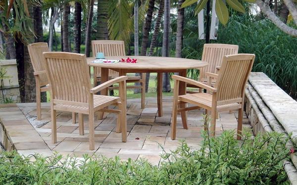 Njs 04 New Java 5 Chairs Round Table Set Solidteakwoodfurniturecom