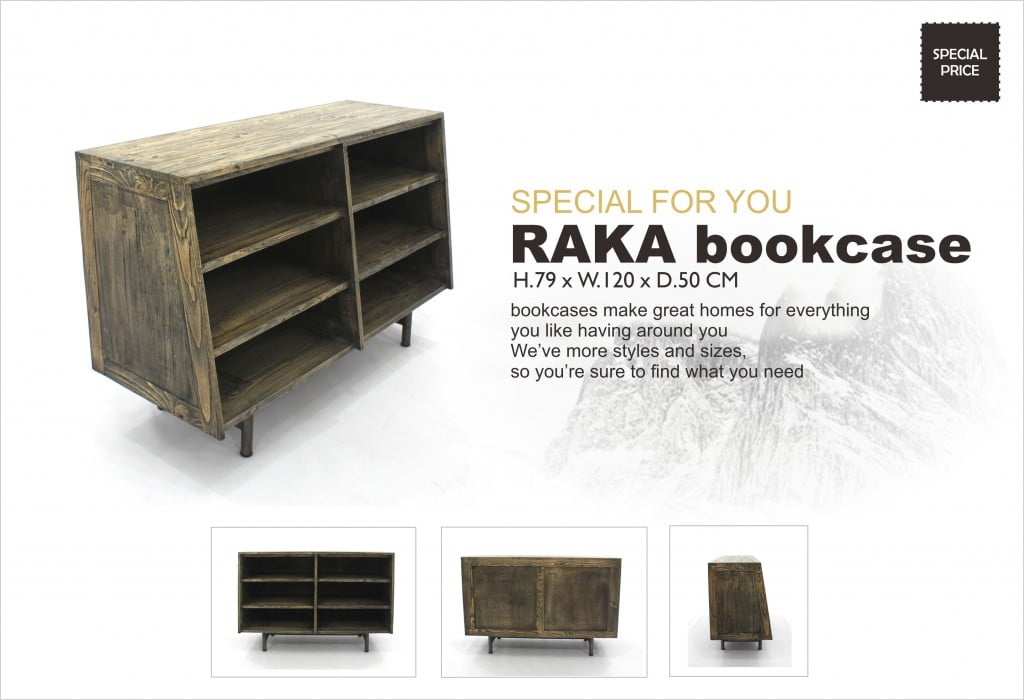 Raka Solid Teak Modern Bookcase