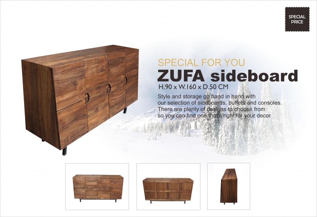 Zufa Solid Teak Modern Sideboard