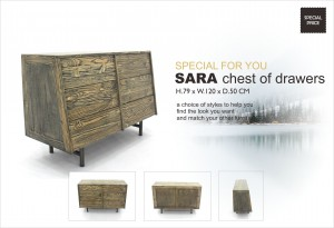 Sara Solid Teak Modern Chest of Drawers